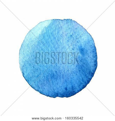Blue Circle Shape Painted With Watercolors Isolated On A White Background. Watercolor. Sample Trendy