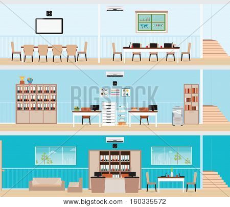 Interior of the building Interior office building room office desk office space meeting room conference room vector illustration.