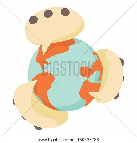 Global communication icon. Cartoon illustration of global communication vector icon for web
