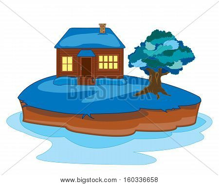 Small lodge on arctic island on white background