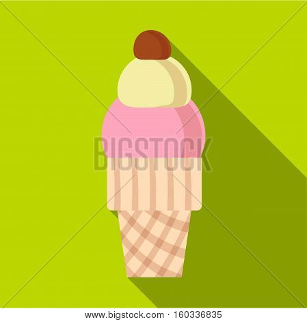 Strawberry ice cream in waffle cup icon. Flat illustration of strawberry ice cream in waffle cup vector icon for web isolated on lime background