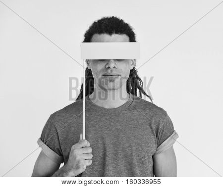 Hipster Man Covering Eyes Blind Concept