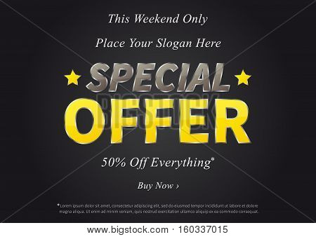 Special Offer vector illustration on black background. Horizontal poster Special Offer Sale 50 Off Everything creative concept. Banner layout Special Offer Sale A4 size ready to print.