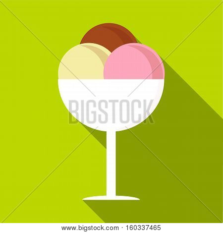Mixed ice cream in a bowl icon. Flat illustration of mixed ice cream in a bowl vector icon for web isolated on lime background