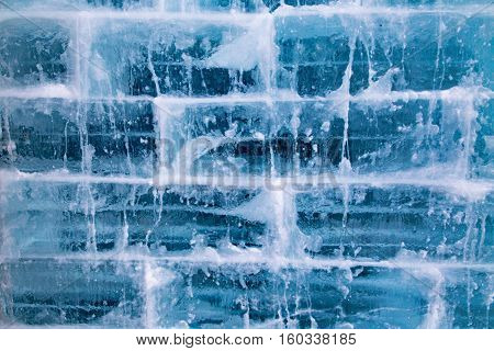 a wall built from blocks of ice is a perfect winter background