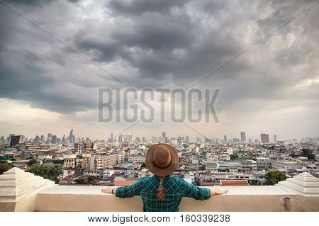 Tourist Looking At Bangkok City Panorama