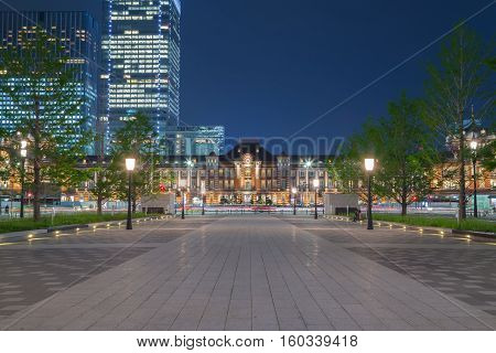 Walkway In Front Of Tokyo Station At Night, Japan