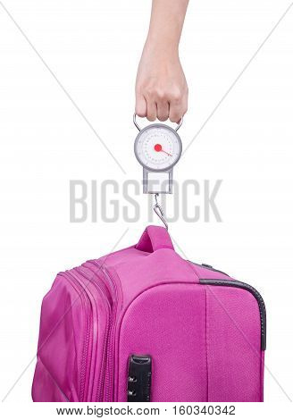 Passenger Checking Luggage Weight With Scale Before Flight Isolated On White