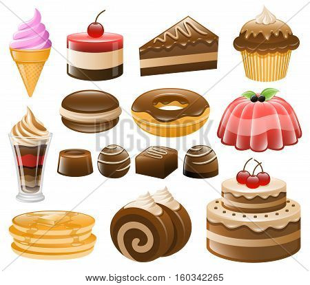 Dessert vector icon collection. Best for Sweets, Confectionery, Pastry, Baking, Food and Drink concept.