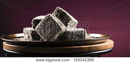 Lamingtons On A Baking Tray