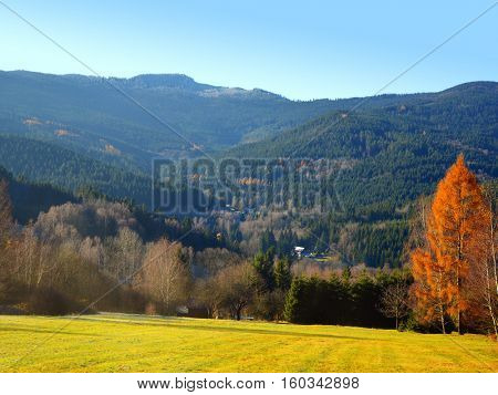 View at mountain Grosser Osser.  Autumn landscape in the national park Sumava - Czech Republic