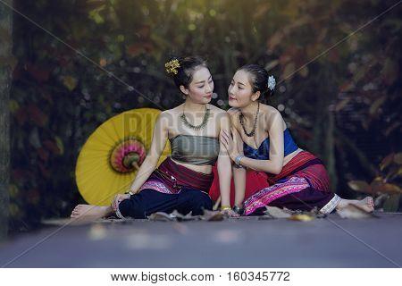 Laos Woman In Thai Dress