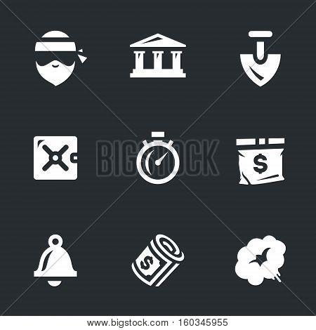 robber, bank, shovel, safe, stopwatch, bag, bell, money, smoke.