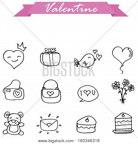 Illustration of valentine hand draw collection stock
