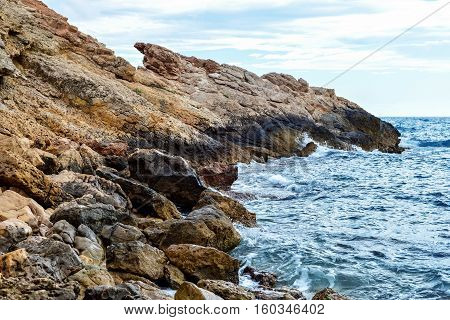the rocky coast of the Mediterranean sea
