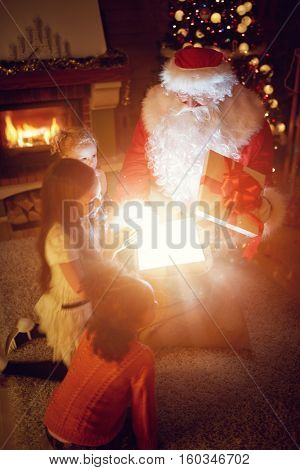 Santa Claus bring magical present group of multi ethnic children, magical holiday