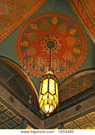 An art deco ceiling lamp in thePenobscot Building in Detroit MI poster