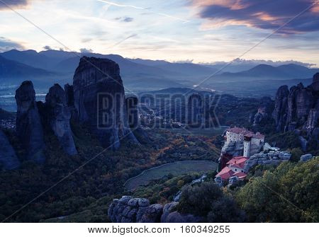 Meteora monasteries after sunset, Greece