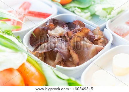Jew's Ear Mushroom, Set Of Food Suki Is Japanese Food In Restaurants, Thai Style