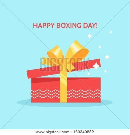 Boxing day design with open red gift box christmas present on blue background. Vector illustration for banner poster and flyer. Boxing day greeting card