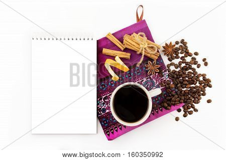 top view, closeup, isolated, stick, decoration, table, natural, spice, brown, aroma, coffee, beverage, serviette, drink, seasonal, holiday, anise, cup, star, elements, festive, orange, aromatic, xmas, notebook, christmas, traditional, modern, espresso, tr