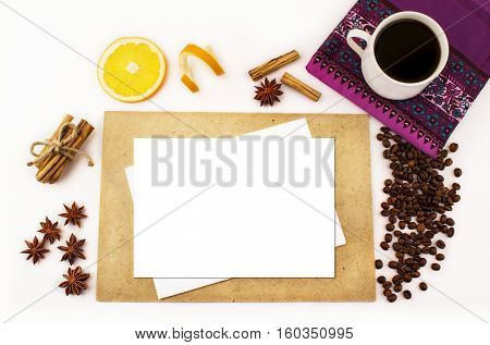 top view, white background, closeup, decoration, table, compliments, natural, coffee, serviette, cup, orange, christmas, card, top, tea, spices, season, mock, up, winter, colorful, postcard, felicitation, wooden, flavors, vintage, space, food, cinnamon, b