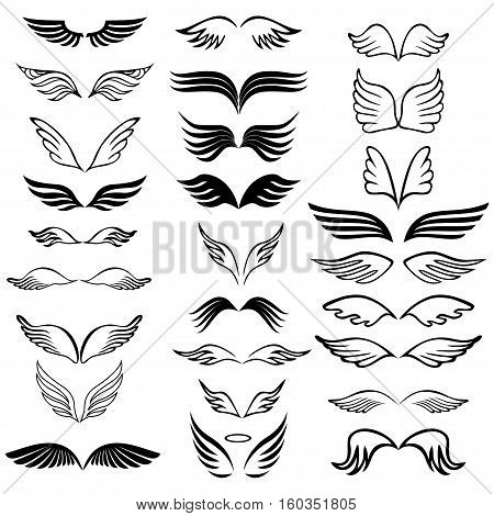 Angel wings set hand drawn sketch on white background. Vector illustration