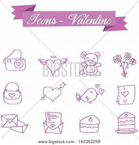 Illustration vector of valentine icons collection stock