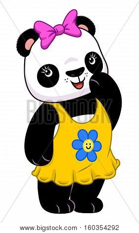 Cute cartoon panda girl in yellow dress isolated on the white background.