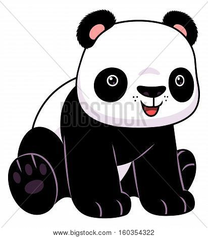 Cute cartoon panda isolated on the white background.