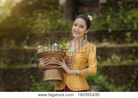 Beautiful girl in Laos costume.Lao traditional dress of a beautiful woman.