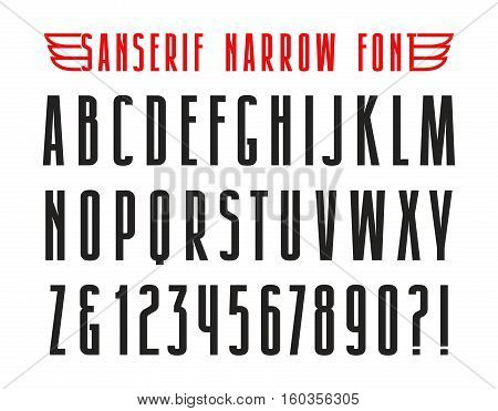 Narrow sanserif font. Isolated on white background