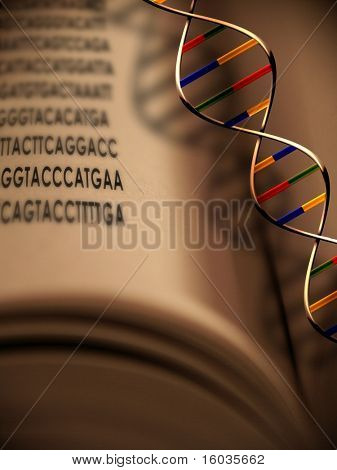 An open book with dna strand and gentic code