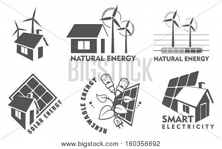 set Vector illustration of a template for a business or company sign on environmental issues in two colors black and white