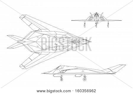 Military aircraft. Contour drawing of war plane. Airplane views: top side front. Vector illustration