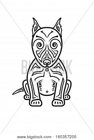 Dog American Pit Bull Terrier hand drawing stylized Maori tattoo (Body art ethnic ornamental dog pattern)