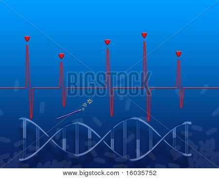 An image representing medicine, genetics and the heart