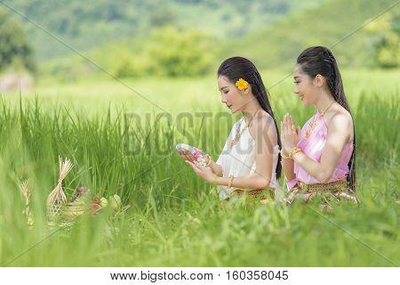 Beauty thai women and thai dress .