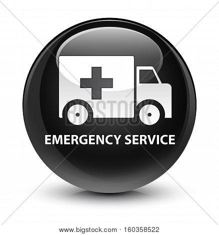 Emergency Service Glassy Black Round Button