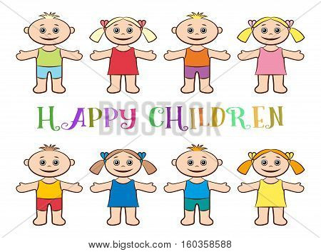 Cartoon People, Set of Happy Children, Funny Little Boys and Girls in Colorful Clothes, Standing with Arms Wide Open and Smiling, Isolated on White Background. Vector