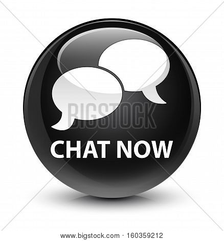 Chat Now Glassy Black Round Button
