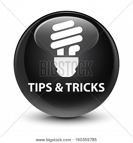 Tips And Tricks (bulb Icon) Glassy Black Round Button
