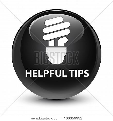 Helpful Tips (bulb Icon) Glassy Black Round Button
