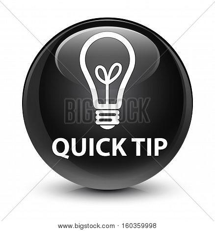 Quick Tip (bulb Icon) Glassy Black Round Button