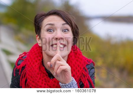 Funny Girl In Red Scarf Oudoor