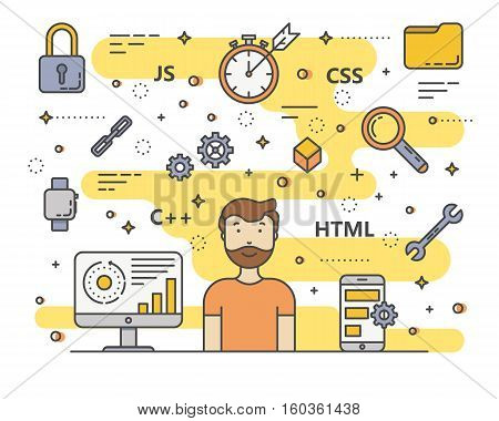 Vector web development, programming concept banner. Digital devices, programmer creating website, writing computer software, mobile applications. Thin line flat design symbols and icons for web, print
