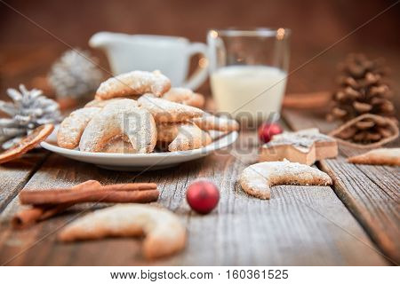Vanilla Horse Shoe Cookies On Christmas Table