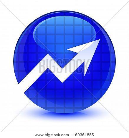 Business Graph Icon Glassy Blue Round Button