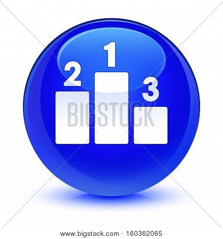 Podium icon isolated on abstract glassy blue round button