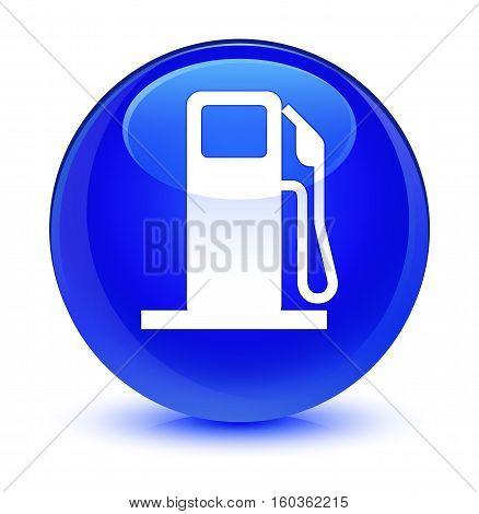 Fuel Dispenser Icon Glassy Blue Round Button